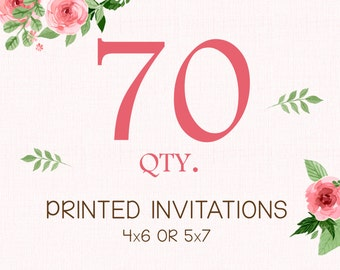 PRINTING SERVICE - 70 Color Printed Invitations on 100lb matte cardstock - Purchase with invitation of your choice - Free White Envelopes