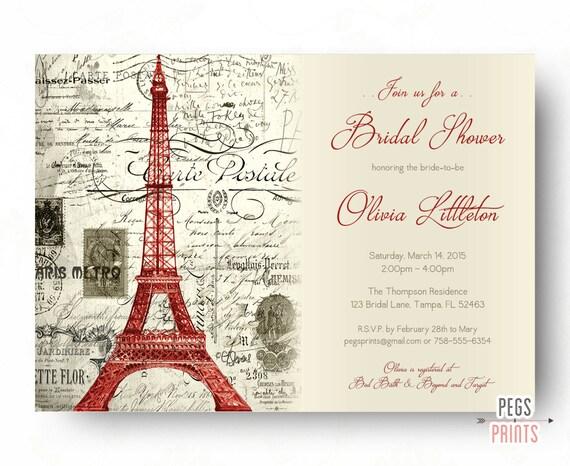 Red paris themed bridal shower invitation printable by for Paris themed invitations bridal shower