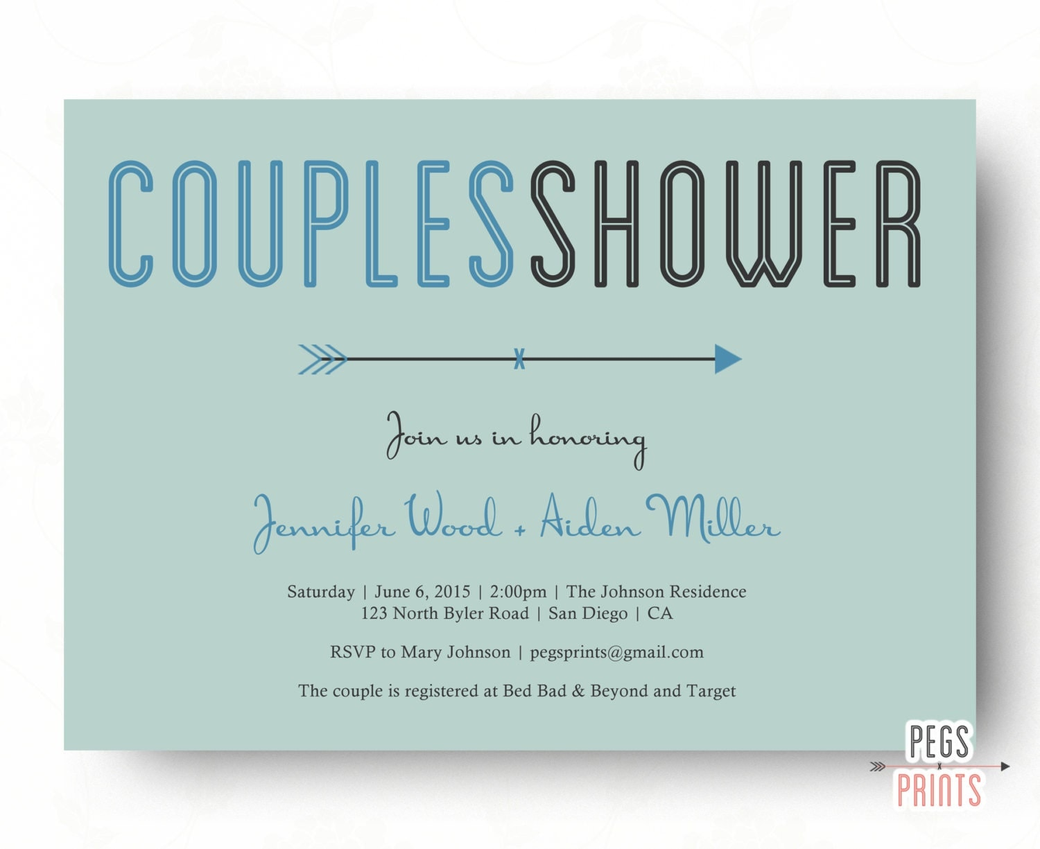 Wedding Shower Invitations For Couples: Printable Couples Shower Invitation Couples Wedding Shower