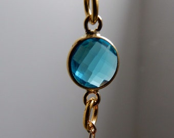 Light blue! Little chain bracelet with faceted stone