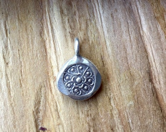 Thai Silver Lotus Charm, Add a Charm to Your Mala Beads, Lotus Charm,
