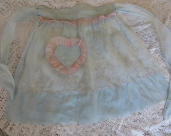 Vintage Half Apron in a Sheer Light Blue with Pink Ruffle Accents  //  Empire Waist with Ties and a Front Pocket