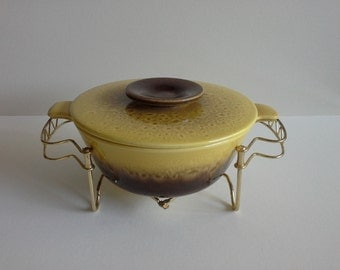 Vintage Hull Divided Vegetable Bowl with Stand.