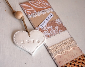 Bookmark heart - love - customizable with a name - Valentine