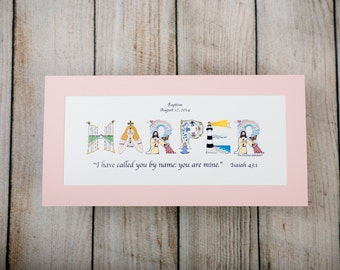Baptism Gift Girl Baptism Gift Boy - Personalized letter art Print - Godmother Godparents Gifts for Boy Gifts for Girl