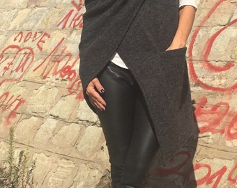 Asymmetrical Vest/Grey Woolen Vest/Maxi Loose Vest/Extravagant Vest
