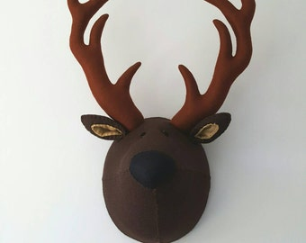 STAG - Faux Taxidermy Deer -Felt Wall Mounted Animal Head - Sidney Stag - brown - woodland theme wall decor.