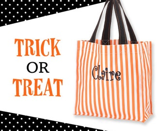 Orange and White Stripe Personalized Halloween Carryall, Goodie Basket, Toy Bucket, Treat Bag
