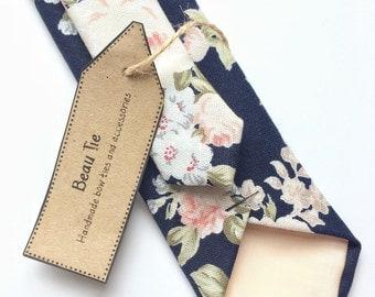 Floral tie, navy blue skinny tie, blush pink floral tie, mens skinny tie, wedding tie, men's floral tie