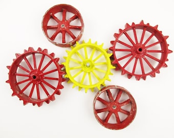 Toy Metal Tractor Tires/Rims - Red and Yellow - John Deere - IH - Cogs of Life - Cast Metal Toy Tractors Wheels - Double Thick