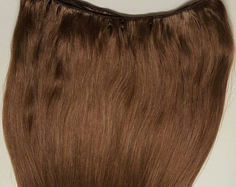 """20"""" Weft Hair, 100grs,Weft Weaving (Without Clips),100% Human Hair Extensions #6 Medium Chestnut Brown"""