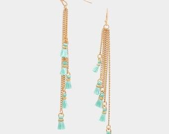 Popular Mint Tassel Earrings,Multi-Tassel Fringe Earrings,  Mint Tassle Earrings, Tassel Earrings, Graduated Tassel Earrings