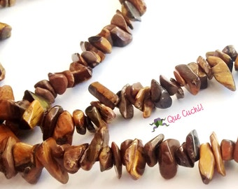 Necklace with Tiger Eye chips of 90cm around the neck