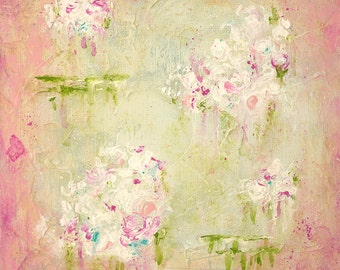 floral painting - tiny painting - nursery art - shabby cottage chic art