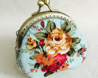 Coin Purse/Bag  - Rose Flowers- Cotton Fabric with Vintage Metal Frame