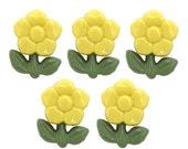 5 Hermosas Flores 5/8 inch (15 mm) Yellow Flower Novelty Sewing Buttons
