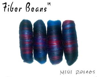 Mini Rolags - Fiber Beans - Alpenglow - spinning felting - merino wool silk tussah angelina sparkle - blue black red purple
