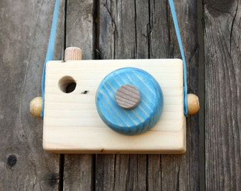 Blue Wooden Camera -Toddler gift  - Pretend play - Waldorf toy - Toddler toy -  Handmade - Toy camera - Toddler gift