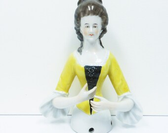 Vintage Half Doll, Pincushion Doll, Arms Away Elegant Lady, Volkstedter Germany