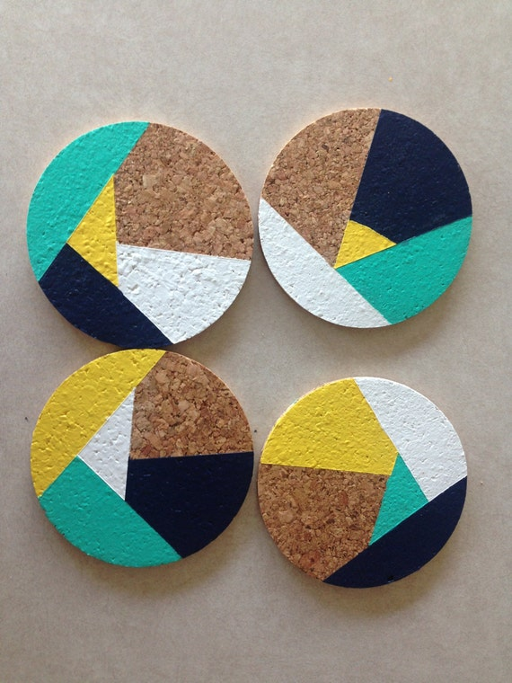Navy yellow teal white abstract 4 round cork coasters for Coaster design ideas