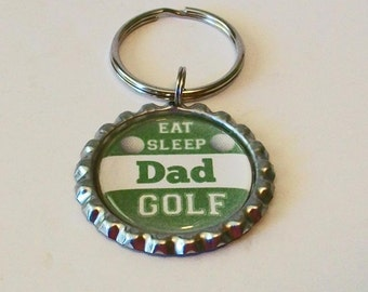 Green and White Eat Sleep Golf Dad Father's Day Metal Flattened Bottlecap Keychain Great Gift