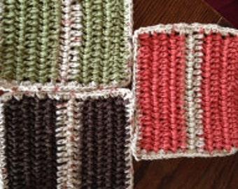 Hand Crocheted Dish Cloths Earth Tones
