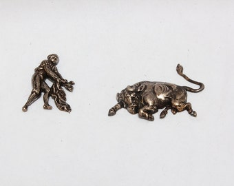 Silvered Vintage copper print representing a torrero and a bull