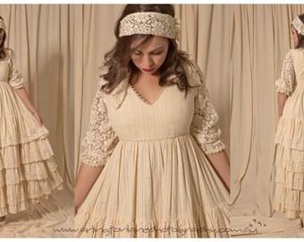 1970s boho wedding gown