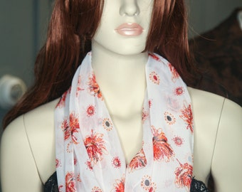 Burnt Orange Floral Infinity Scarf
