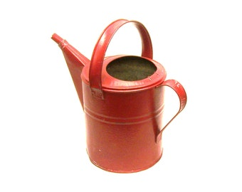 Lucille's Vintage Red Galvanized Watering Can