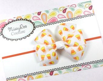 Halloween Hairbow - Candy Corn Hairbow - Orange and Yellow Bow - Halloween Headband - Fall Hair bow - Baby Girl Halloween Bow - Toddler Bow