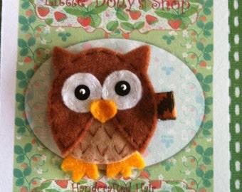 Brown Owl Hair Clip