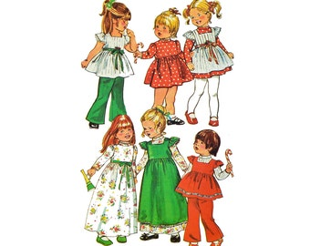 70s Girls Dress Pattern / Little Girls Pinafore Smock Pattern / Simplicity 5993 Vintage Sewing Pattern Girls Empire Waist Long Dress Size 3