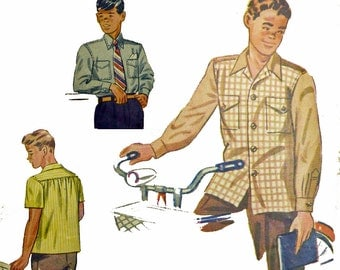 50s Vintage Sewing Patterns for Boys / 1950s Campus Shirt Pattern Button Shirt Pattern / Simplicity 2049 Chest 32 50s Sewing Patterns