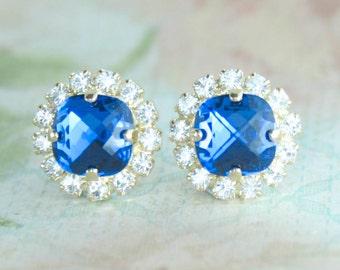 Capri blue crystal earrings,blue crystal earrings,blue bridal earrings,blue bridesmaid earrings,swarovski,swarovski blue earrings,capri blue