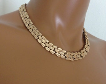 Trifari Crown Chocker Necklace Leaf Triple Strand Design  Gold Tone Signed