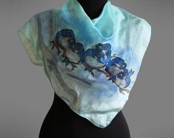 Hand painted silk scarf.  Bird silk scarf. Square silk scarf.  Silk shawl. Turquoise silk scarf.  26x26 in (67x67 cm). Ready to ship.