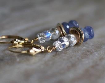 Rainbow moonstone, tanzanite earrings, dangle earrings, gold fill lever back ear wires, gift for her, moonstone earrings, tanzanite jewelry