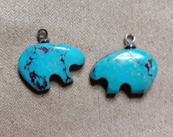 Blue Bisbee Turquoise Bear Cabochon Pair/ backed/ with eyehook