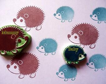 Hedgehog Stamp, Hand Carved Rubber Stamp, Prickly Hedgehog, Woodland Animal Stamp