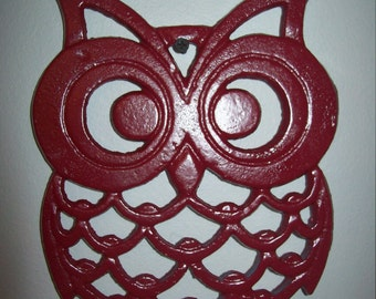 LARGE Cast Iron OWL Trivet Owl Wall Decor Kitchen Decor Gray Red Turquoise Rustic Owl Decor Distressed Cast Iron Trivet