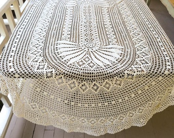 """Crochet Lace Tablecloth Vintage White Tablecloth Oval 80"""" by 54"""""""