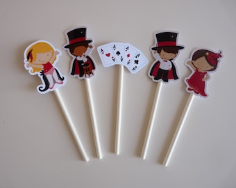 Set of 10+ Little Magician cupcake toppers - Magic Party Decor, Party Favour Favor, Magic Show,