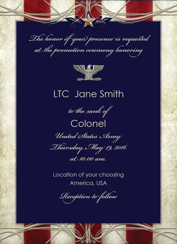 Custom Printed Blue Stars and Stripes Invitation