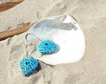 heart drop earrings, turquoise heart earrings, filigree heart earrings, heart dangle earrings, beach jewelry, heart jewelry, beach earrings