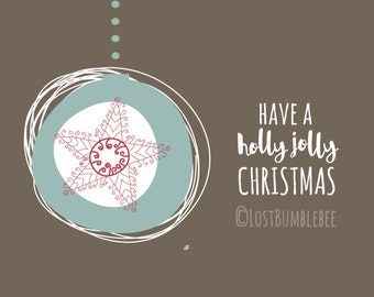 CHRISTMAS CARDS DIGITAL //  Holly Jolly Christmas //  5x7 // 3 Colours Colors // Instant Download