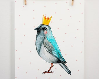 Displays crowned bird and peas pink, wall decoration
