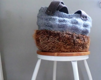 Fur bag wool felt handknitted Italian vintage fur, eco, gift for her, recycled natural new mode from JJePa