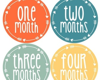 Baby Boy Month Stickers Monthly Baby Sticker Monthly Baby Stickers Baby Month Stickers Arrows Milestone Stickers Photo Stickers 1019