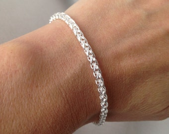 Gift Twisted Bracelet Sterling Silver Bangle Bracelet, Stacking Bracelet, Simple Bracelet, Chain Bangle Ready to ship